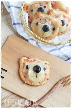 Bento, Monsters: Bear Pizza Use bread, a cookie cutter and toppings... easy and adorable! #Kids #Snacks #ShermanFinancialGroup