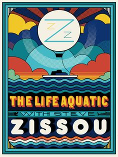 The Life Aquatic with Steve Zissou poster for The Castro Theater's screenings. Design by Sam Smith. #WesAnderson