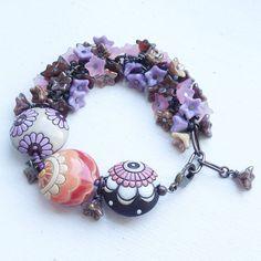 Purple Peach Brown Cream Pink Cluster bracelet by ButtonedUpBeads