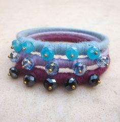 Ombre bangle armbanden crystal vezel stapelen door pieceofART