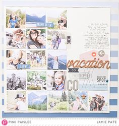 Layout: Vacation featuring Atlas from Pink Paislee Scrapbook Journal, Scrapbook Cards, Scrapbooking Layouts, Digital Scrapbooking, Travel Album, Travel Books, Travel Journals, Vacation Scrapbook, Go Pink