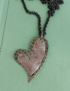 Two Hearts Necklace by joytoyou41 on Etsy, $25.00