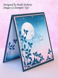 """I have used only two colours for this card, Not Quite Navy and Pink Pirouette. I have masked off the """"Moon"""" before applying my colour, and then stamp in Not Quite Navy for a bold foreground image. I have also opted for just a hint of bling in the stars, using Stampin' Up!'s gorgeous Rhinestones."""