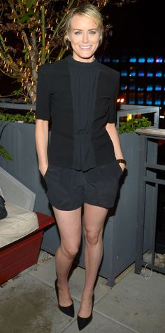 Instead of a LBD, Taylor Schilling celebrated her 30th birthday in little black shorts that she styled with a black A.L.C. top and black pumps. #InStyle