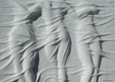 Arabescato marble Wall Mounted or Wall Hanging sculpture by artist Eppe de Haan titled: 'Le Tre Grazies (3 Graces Carved marble Bas Relief Carvings sculptures)'