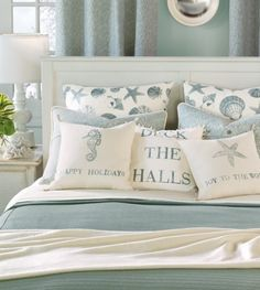 Bedroom: White Bedroom Interior Set Combined With Tropical Turquoise Beach Themed Bedding Set Next To Decorative Table Lamp For Adults Idea, Homeyapt
