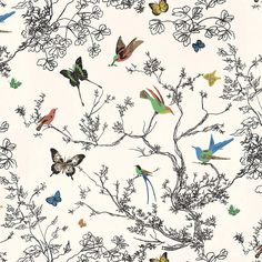 Birds and Butterflies Wallpaper