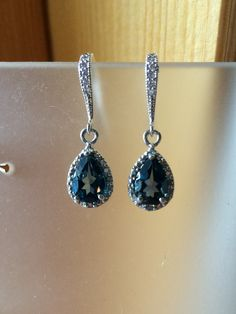 London Blue 3 ct. Topaz and Diamond drop sterling silver earrings on Etsy, $85.00