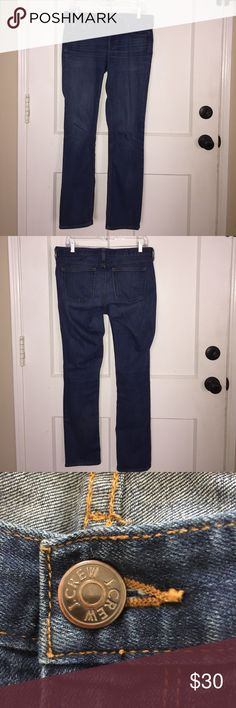 """J Crew Matchstick Jeans J Crew Matchstick Jeans Sits above hip. Fitted through hip and thigh, with a straight leg.  If straight without being skintight is your thing, then so are these jeans.   Cotton with a hint of stretch. Traditional 5-pocket styling. Machine wash. Size: 28r Waist: 16.5"""" Rise: 8"""" Inseam: 30.5"""" Leg opening: 7"""" J. Crew Jeans Straight Leg"""