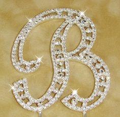 Vintage  Swarovski Crystal Monogram Wedding Cake Topper Set of 3