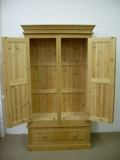 VERY LARGE SOLID PINE DOUBLE WARDROBE QUALITY PINE - W 106 - D 56 - H 200 CM - £295 http://www.drabtofabfurniture.co.uk/non-painted-furniture/
