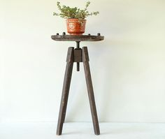 antique rustic plant stand  unique side table  by cupolavintage, $132.00