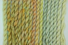 There are about 10-12 meter hand dyed bamboo yarn in each color.  Must - have for creative artistic projects!  175 meters /100 gram 191 yards / 3.5 oz