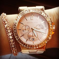 Rose gold bracelet & watch.