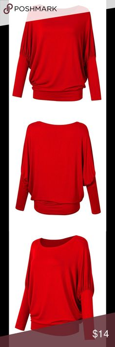 NWT Women's Long Dolman Sleeve Top Long, dolman sleeves. Boat neck. Pairs great with leggings or skinny jeans. Size is large, but runs slightly small. Please see measurements. Length: 27 inches. Bust: 52 inches. Tops