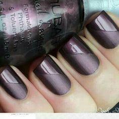 Matte purple - Glossy purple - Nail design