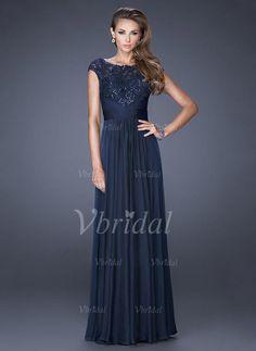Evening Dresses - $156.69 - A-Line/Princess Scoop Neck Floor-Length Chiffon Evening Dress With Appliques Lace Sequins (0175098626)