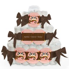 Owl Girl - Look Whooo's Having A Baby - 3 Tier Personalized Square - Baby Shower Diaper Cake