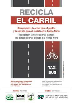 Recicla el carril. Bajar las bicis de las aceras València, 2012