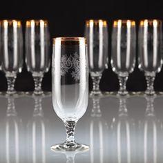 6 Vintage Sektgläser Sektkelche Goldrand Ätzdekor Glas Stiel gedreht T
