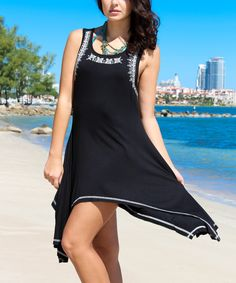 Loving this La Moda Clothing Black Embroidered Sidetail Dress on #zulily! #zulilyfinds