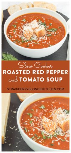 Garden vegetables are roasted to perfection and then placed in the slow cooker to simmer until tender making this Slow Cooker Roasted Red Pepper and Tomato Soup delicious and comforting. Top with freshly grated parmesan cheese and basil and serve a chunk of hearty bread on the side for the perfect weeknight dinner. | Strawberry Blondie Kitchen