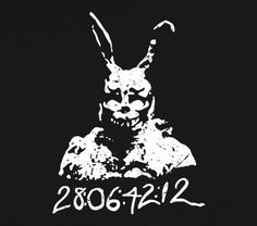 Donnie Darko And Frank The Bunny 28 06 42 12 Tee ... Donnie Darko Tattoo, Travel Movies, Time Travel, Donnie Darko Frank, Movie Tees, Bunny Rabbit, Pj, Tattoo Ideas, Wine Cellars