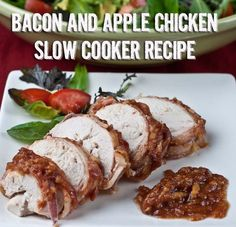 Bacon and Apple Barbecue Slow Cooker Chicken Recipe Bacon Apple Chicken -used thighs and doubled entire recipe yummmm used 365 brand bbq sauce and nitrate free bacon also red delicious apples yummm Slow Cooker Bacon, Slow Cooker Chicken, Slow Cooker Recipes, Crockpot Recipes, Chicken Meals, Healthy Chicken Recipes, Paleo Recipes, Whole Food Recipes, Cooking Recipes