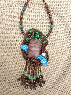 Bead Art Pendant - A River Runs Through It - Bead Embroidery Gemstone Necklace - Picture Jasper by HollyoftheEarth on Etsy