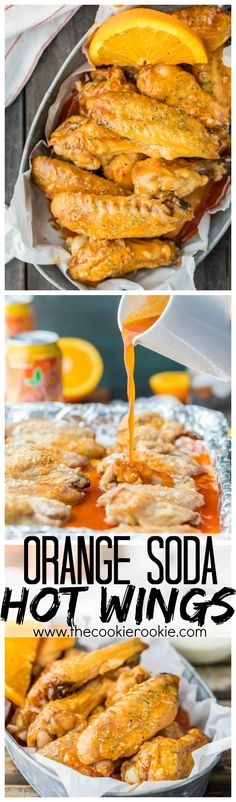 Baked Hot Wings are one of my favorite appetizers! This baked hot wings recipe is made with the most delicious orange soda hot wing sauce. Chicken Wing Recipes, Baked Chicken, Grilled Chicken, Baked Hot Wings Recipe, Hot Wing Sauces, Orange Recipes, Orange Soda, Orange Juice, Burger