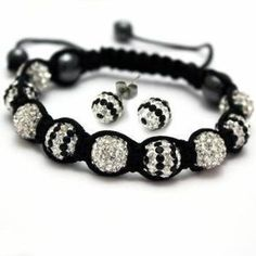 Black and White Womens & Girls Fashion Jewelry Set 10mm Swarovski Crystal Shamballa