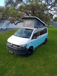Our latest van conversion with pop top roof. Vw Campervans For Sale, Van Conversion Campervan, Rock And Roll Bed, Used Hyundai, Portable Solar Panels, Dinosaur Design, Bike Rack, Car Wrap, Camper Van