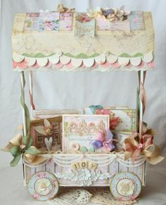 iralamija: Art & Joy Beautiful little handmade cart! 3d Paper Crafts, Paper Art, Diy And Crafts, Chipboard Crafts, Altered Boxes, Altered Art, Craftwork Cards, 3d Craft, Shabby Chic Crafts