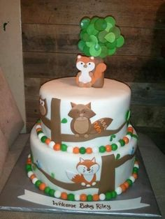 cakes on pinterest woodland cake woodland animals and baby shower