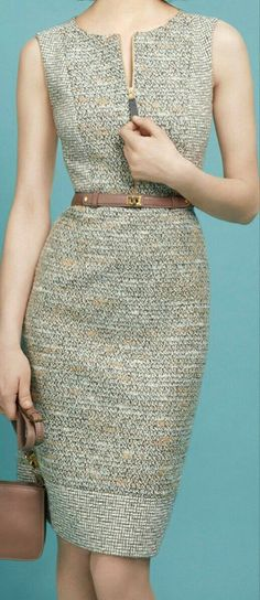 Idea: Mix patterns in a princess seam dress, but just the bodice? Fashion Mode, Office Fashion, 80s Fashion, Work Fashion, Korean Fashion, Fashion Dresses, Vintage Fashion, Fashion Trends, Fashion Ideas