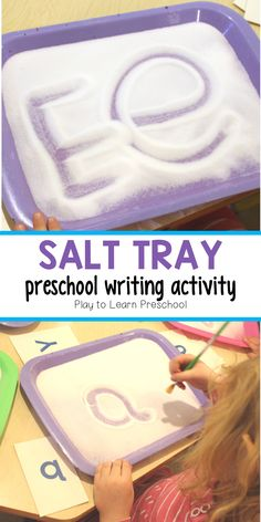 Salt Tray Writing Practice It is so important that our preschoolers practice writing with lots of different materials and utensils. They found these salt trays to be irresistible. It's an inexpensive, but highly valuable activity. Writing Activities For Preschoolers, Pre K Activities, Preschool Writing, Preschool Letters, Montessori Activities, Kindergarten Letter Activities, Preschool Language Activities, Preschool Alphabet Activities, Preschool Literacy Activities