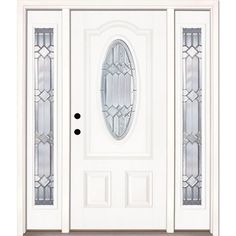 Feather River Doors 67.5 In.x81.625in.Mission Pointe Zinc 3/4 Oval Lt  Unfinished Smooth Right Hd Fiberglass Prehung Front Door W/ Sidelights,  Smooth White: ...