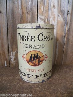 Vintage Look Tin Food Safe THREE CROW BRAND COFFEE Tin Canister Container Can