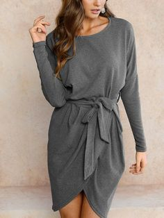 Women Long Sleeve Wrap Mini Dress – FIREVOGUE