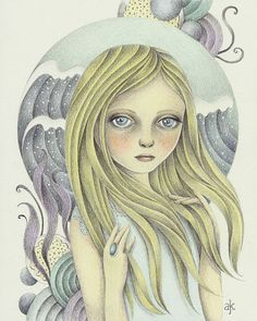 Print of  Fantasy Original Pencil Drawing Ocean by TheWishForest