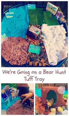 We& Going on a Bear Hunt tuff tray, fun imaginative play idea toddlers and preschoolers. This We& Going on a Bear Hunt small world play is a perfect activity for EYFS children and great for creative story telling. Childcare Activities, Infant Activities, Activities For Kids, Nursery Activities Eyfs, Sensory Activities, Tuff Spot, Toddler Play, Toddler Preschool, Preschool Music