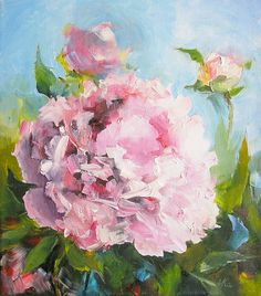 A peony flower painting. One pink flower and blue sky. My ORIGINAL painting oil. Only one of a kind. My painting of summer 2016. Picture is original painting ( oil, canvas on a wooden subframe) Size 22x19cm (8,5x7,5 inch) It will be wrapped and shipped with much love and care to