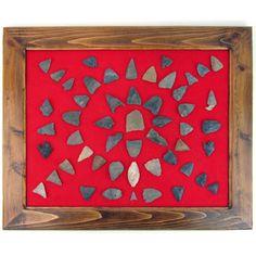 Vintage Found Arrowheads in Custom Frame on Red Felt by Ruby + George
