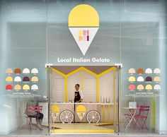 Dri Dri, pop-up Italian ice cream stall at St Martins Lane Hotel in London - converted by architects ELIPS DESIGN into an idyllic Italian beach, complete with traditional decking, coloured beach cabins, sun umbrellas, chairs and tables / Photography is by Carlo Carossio