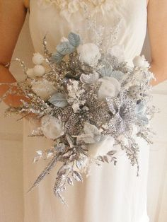 delicate silver wedding bouquet - List of winter flower bouquets Silver Winter Wedding, Winter Wedding Flowers, Christmas Wedding, Winter Weddings, Bridal Flowers, Winter Bride, Sparkle Wedding, Purple Flowers, Christmas Ideas