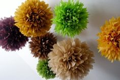 Fawn and Forest ... 10 tissue paper poms // wedding decorations // diy // paper flowers // forest theme via Etsy