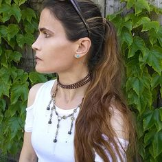 DOUBLE TROUBLE STUDDED Leather Choker