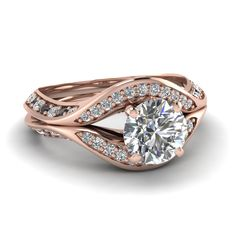 Archway Ring || Round Cut Diamond Halo Ring With Black Diamond In 14K Rose Gold