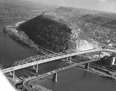 The old bridge and the new bridge in 1960 in Red Wing MN.  Collections Online from MN History Center