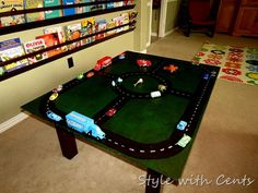DIY race (or train) track for $10. Can sit on a table or flat on the floor
